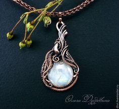 Купить Кулон из меди с адуляром ( лунным камнем) - белый, беломорит, адуляр, лунный камень