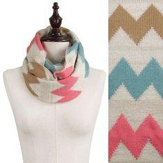 "Chevon Knit Infinity Scarf, Beige/Pink/Camel Chevon Pattern Knit Infinity Scarf, Beige/Pink/Camel 100% Acrylic. Approximate 12""W x 52""L Accessories Scarves & Wraps"
