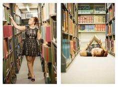 senior photo shoot in library