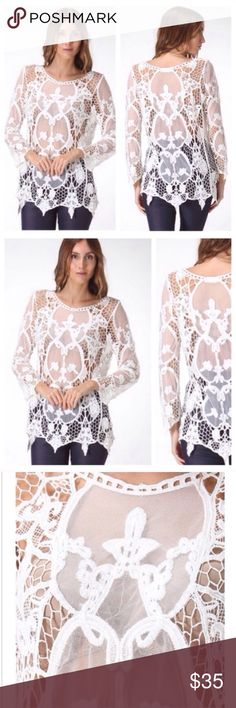 LAST White Lace Crochet Boho Chic Blouse Top Beautiful top perfect with white tank underneath. Last one. Size medium. Fits a 6-8 Tops Blouses