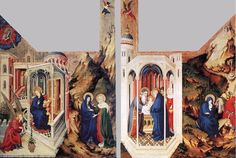 Melchior Broderlam, The Dijon Altarpiece, 1393-99, Tempera on wood, 167 x 249 cm Musée des Beaux-Arts, Dijon. This Altarpiece original decorated the interior of the Chartreuse de Champmol. LINK to the Web Gallery of Art to learn more and see details.