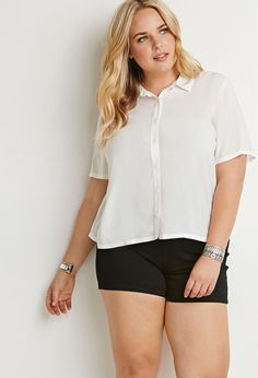 Plus Size Classic Collared Shirt | Forever 21 PLUS - 2000140510