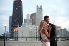 Classy engagement session on a Chicago rooftop.