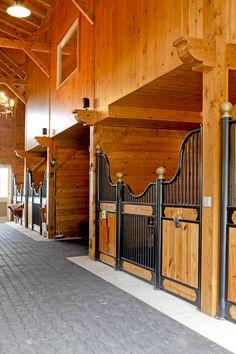 Multi-stall timber frame equestrian barn in Woodbine, MD.
