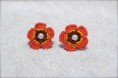 Crochet Flower Earrings Coral Yellow Brown with by CatWomanCrafts, $10.00
