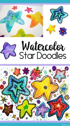 Painted and Doodled Stars Tutorial - Grundschule Doodle Drawings, Easy Drawings, Painting For Kids, Art For Kids, Elementary Art Lesson Plans, Star Doodle, 3rd Grade Art, Ecole Art, Art Inspiration Drawing