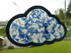 Bricolage (activité manuelle) enfant sur le thème de la météo avec un nuage vitrail.