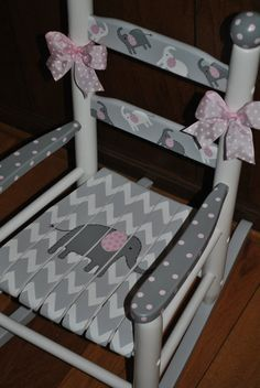Children's- Custom Hand Painted- Chevron- Pink Elephant-Girls Rocking Chair-Baby Shower Gift, Nursery Furniture, Painted Child Rocking Chair by Susan Kay Waddington