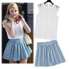 European boutique new suit sleeveless lace white shirt  + high waist Polka Dot bust skirt suits wholesale  $18.80