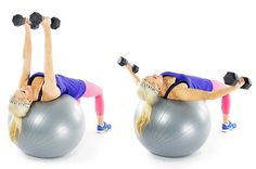Chest Press & Fly: Sit down on a stability ball and slowly walk your feet out as your recline. Your shoulders and head should be the only body parts touching the ball. Dumbbells are held directly above the chest with palms toward each other. Open your arms wide, lowering the weights out to the sides until your upper arms are nearly parallel to the floor. You must keep your elbows slightly bent so the work stays in the chest instead of moving into the shoulder. Reverse the move to return to…