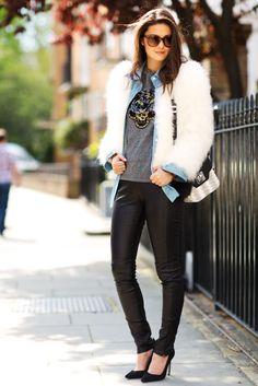 Faux fur + Denim shirt + funky Tiger jumper + Pleather pants. Wow!