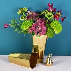 Brass Hexagonal Vases - available from MiaFleur