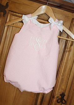 Baby girl bubble in pink gingham seersucker