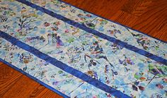 Blue Floral Table Runner Bluebird Table Runner Quilted Table
