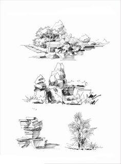 rocks & trees sketch