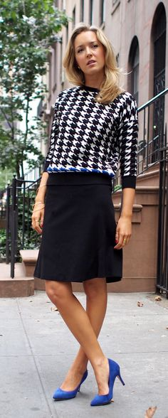 The Classy Cubicle: Happy Houndstooth {professional, office, work, women, fashion, wear, zara, elie tahari, corso como, sweater, a-line knit skirt, blue suede pumps, heels, fall trend}