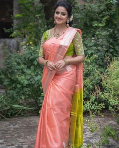 Image may contain: 1 person, standing and outdoor Half Saree Designs, Silk Saree Blouse Designs, Saree Blouse Patterns, Fancy Blouse Designs, Bridal Blouse Designs, Blouse Neck Designs, Indian Bridal Sarees, Bridal Silk Saree, Indian Silk Sarees