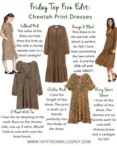 Friday Top Five Edit: Cheetah Print Dresses | Hey Its Camille Grey #cheetahprint #dresses #cheetah #leopard #fashion #fallfashion #photoinspiration