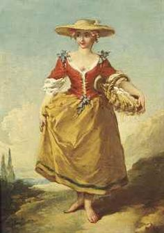 A peasant girl in a landscape carrying a basket of eggs, mid 18th century by Francois Boucher (1703-1770)