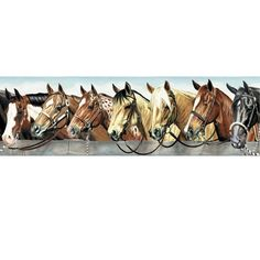 Rustic Westerns Background | Western Horses Wallpaper Border at Rocky Mountain Cabin Decor