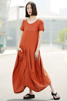 Orange Linen Dress - Womens Linen Lagenlook Clothing Casual Everyday Comfortable Plus Size Summer Fashion Basic Wardrobe Staple C351