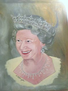 Queen Elizabeth II Just for fun, not for sale. Oils  Painted by Sharon Douglas  www.sharondouglas.weebly.com