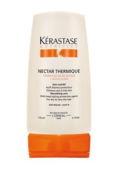 A great conditioner for long hair: The ends are the oldest, driest, and most prone to breakage and splitting. Look for conditioners with ingredients like glycerin, to bind water; olive and avocado oils, for sheen and replenishment; and keratin, to strengthen and nourish. Kérastase Nutritive Nectar Thermique, $42, available at Kérastase.