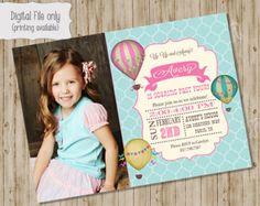 Aire caliente globo cumpleaños invitación por SweetBeeDesignShoppe