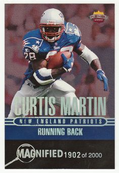 Curtis Martin # RB 6 - 1997 Score Board Playbook By The Numbers Football - Magnified Silver