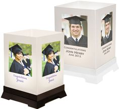 Custom Graduation Tabletop Lantern Decoration / Put a photo on each side and accent your table with this tabletop luminary