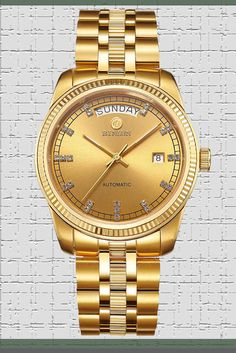 640f30de91a BINLUN Men s 18K Gold Luxury Dress Watches Swiss Movement Automatic Watch  with Date Day Luminous Hands