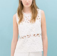 White hollow out lace blouse