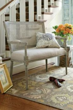 Clemence Caned Bench - French Bench, White Oak Bench, Carved Bench | Soft Surroundings