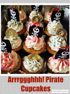 Pirate Birthday Cupcakes, Pirate Cupcake, Cupcake In A Cup, Themed Cupcakes, Fun Cupcakes, Cupcake Party, 5th Birthday, Birthday Ideas, Sibling Birthday Parties