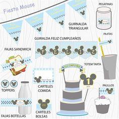 Imprimible Mouse azul mind  #Fiesta #cumpleaños #printables #niños #etiquetas #plantillas #niños Valance Curtains, Mickey Mouse, Home Decor, Happy Birthday, Printables, Events, Party, Stencils, Tags