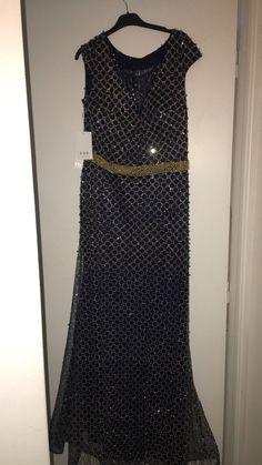 5634787a2756 robe de soireé bleu nuit avec perle doré taille L , jamais porté NEUF avec  étiquette