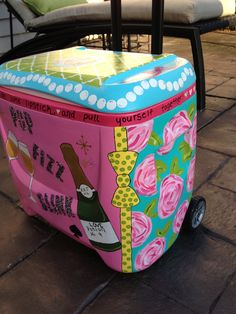 Painted cooler Lilly print