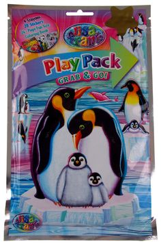 "Hasbro Play Pack Grab & Go Lisa Frank Penguins Lot of 3 Each Pack measures 5 1/4"" wide x 8 1/4"" tall Each Pack Includes: 4 Crayons 25 Stickers 24-Page Fun Size Coloring Book Resealable Storage Foil Ba"