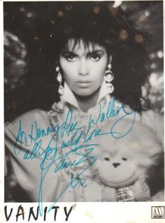 Denise Katrina Matthews(1/4/59 - 2/15/16), formerly known asVanity& sometimes credited asDenise Matthews-SmithorD.D. Winters, was a Canadianformersinger,songwriter,dancer, actress, &modelwho turned away from her acting and music career to concentrate onevangelism. Vanity's career lasted from 1980s until the early mid-1990s.
