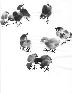Chinese brush painting small birds