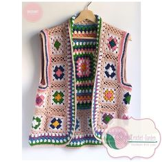 Polero crochet handmade material : cotton yarn for summer and spring you can choose any color you want weeks work Crochet Waistcoat, Crochet Cardigan Pattern, Granny Square Crochet Pattern, Crochet Stitches, Knit Crochet, Crochet Vests, Crochet Squares, Crochet Designs, Crochet Patterns