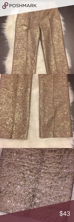New BCBGMaxAzria Collection SZ 0 Gold Tinsel Pant New BCBG MaxAzria Collection SZ 0 Gold Tinsel Pant never Worn. Missing tag but brand new tinsel like detail in gold featured all over front creased pants. Materials are pictured on tag for reference. Pictures don't dont do them justice. BCBGMaxAzria Pants