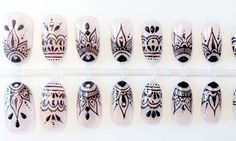 Henna style art nails press on false nails fake nails ud idee deco faux ongles with idee deco faux ongles Henna Nail Art, Henna Nails, Lace Nails, Glue On Nails, Diy Nails, Mandala Nails, Nagel Gel, Press On Nails, Trendy Nails
