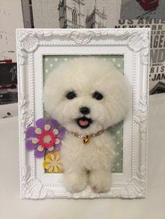 Retrato de perrito de fieltro aguja lana en por KathycCollection