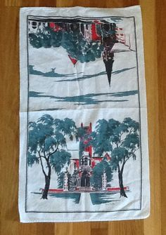 Vintage Bermuda Souvenir Tea Towel Church by ContemporaryVintage