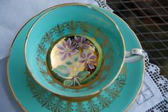 Royal Grafton Tea Cup Saucer Aqua/Turquoise and Gilt Pink Daisy, England