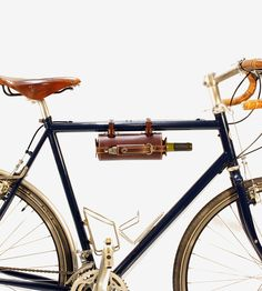 Bicycle-Mounted Leather Wine Carrier with Opener by Pedal Happy on Scoutmob