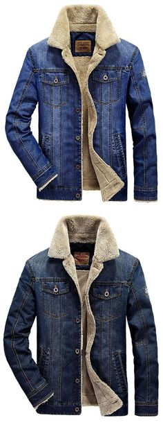 M to 4XL Winter Outdoor Thick Warm Slim Men's Denim Jacket