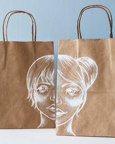 Kraft Paper Bags with White Illustrations - Sweet Paul presents Lova's World