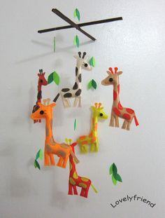 Baby Crib Mobile - Baby Mobile - Felt Mobile - Nursery mobile - colorful giraffe design (Custom color available). $78.00, via Etsy.